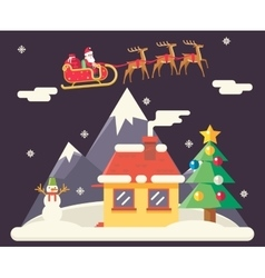 Sky Flying Sleigh Cristmas New Year House vector image