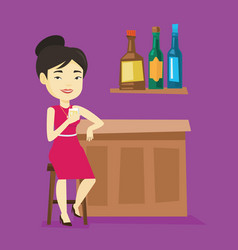Smiling woman sitting at the bar counter vector