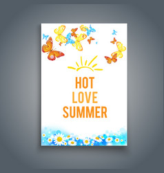 summer blank with butterflies vector image