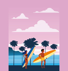 Surfers man and woman on beach coast palm vector