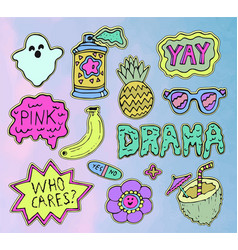teen stickers set vector image