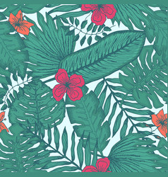 tender pattern with tropical leaves and flowers vector image