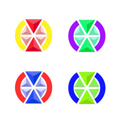 the emblem of the volume triangles vector image
