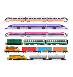 Trains set passenger and freight train vector