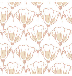 tulip flowers seamless pattern hand drawn lines vector image