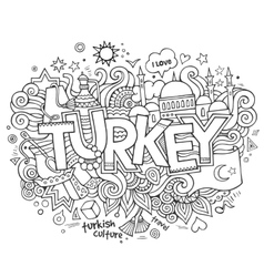 Turkey hand lettering and doodles elements vector image