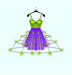 Ultraviolet and fresh green party dress with flowe vector
