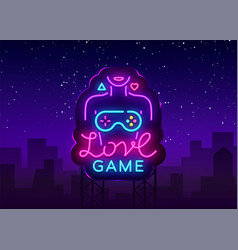Video games conceptual logo love game neon vector