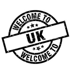 welcome to uk black stamp vector image