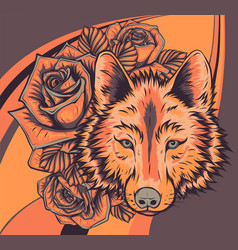 Wolf with roses artwork art vector
