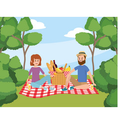 woman and man with basket picnic and trees vector image