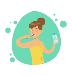 Woman Brushing Teeth Part Of People In The vector