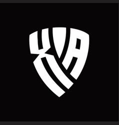 Xa logo monogram with shield elements shape vector