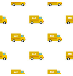 Yellow mail truck pattern flat vector