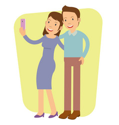 young girl doing selfie with her boyfriend vector image
