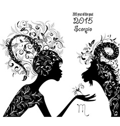 2015 year of the beautiful goat and Zodiac sign vector image