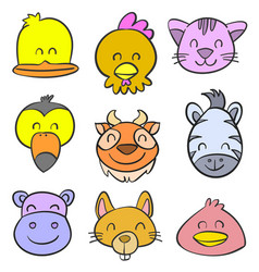 cute animal for kid of doodle style vector image