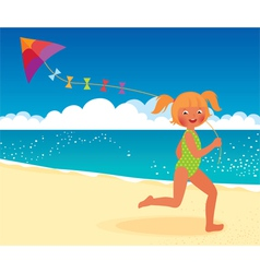 Girl with a kite on the beach running vector image