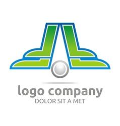 Letter f green alphabet foot ball company vector