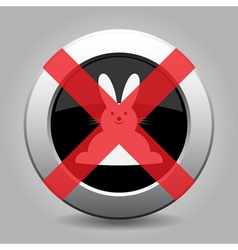 no white Easter bunny - metal button vector image