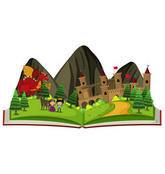 Storybook with dragon at the castle vector