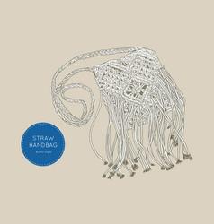 straw handbags boho style sketch vector image vector image