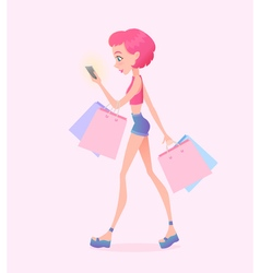 Young hipster girl going down the street with vector image