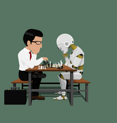 businessman and robot are playing chess vector image