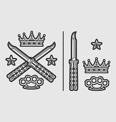 Butterfly Knives with Brass Knuckles Crown vector image vector image