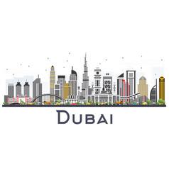 Dubai uae skyline with gray buildings isolated on vector