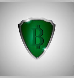 green shield with bitcoin symbol vector image vector image