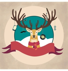 Hand Drawn of Deer Hipster in scarf Merry vector image