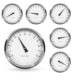 manometer round gauges with metal frame vector image