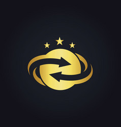 round circle arrow star gold logo vector image