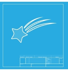 Shooting star sign White section of icon on vector image vector image