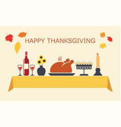 thanksgiving day table vector image vector image