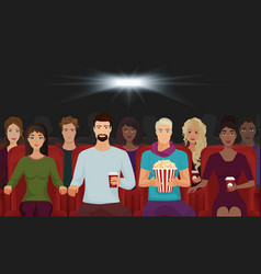 the people watching the movie in the cinema vector image