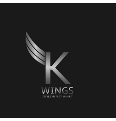 Wings K letter vector image vector image