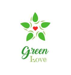 logo organic food green love slogan on white vector image vector image