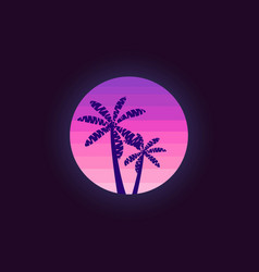 palm trees on a sunset background in the style of vector image