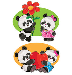 set with a couple of panda bears in love vector image