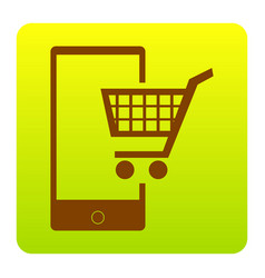 shopping on smart phone sign brown icon vector image