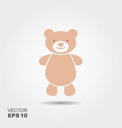 soft toy teddy bear flat icon vector image