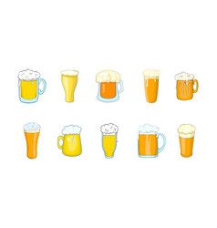 beer glass icon set cartoon style vector image