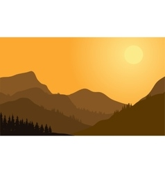 Silhouette of mountain and forest vector image