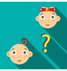 Who will be born boy or girl icon flat style vector image
