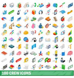 100 crew icons set isometric 3d style vector