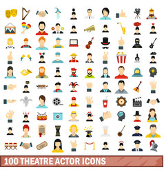 100 theatre actor icons set flat style vector