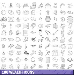 100 wealth icons set outline style vector