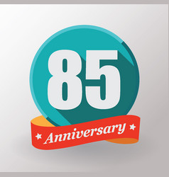 85 anniversary label with ribbon vector